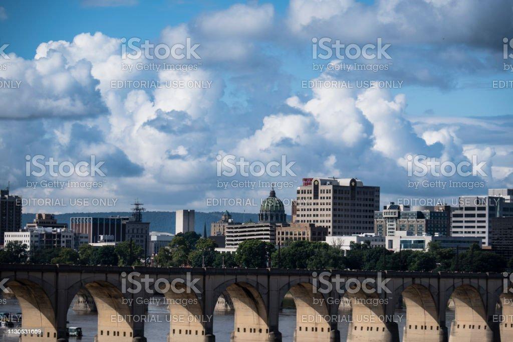 Crossing the Susquehanna River at Harrisburg stock photo