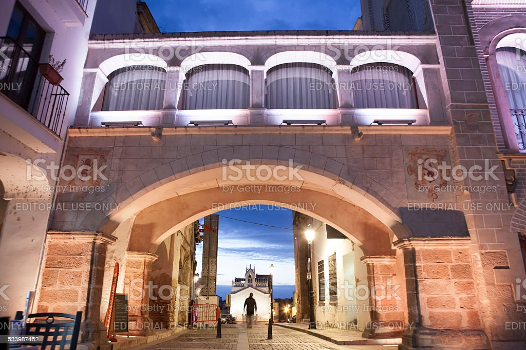 Crossing the Weight Arch illuminated by led lights, Spain stock photo