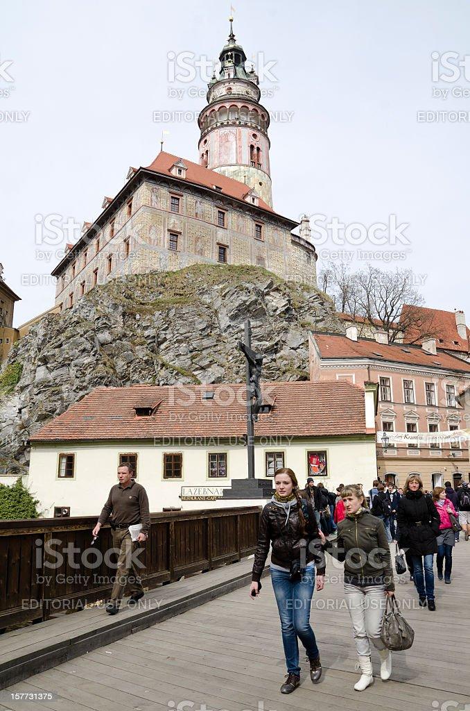Crossing Vltava in Česky Krumlov Europe royalty-free stock photo