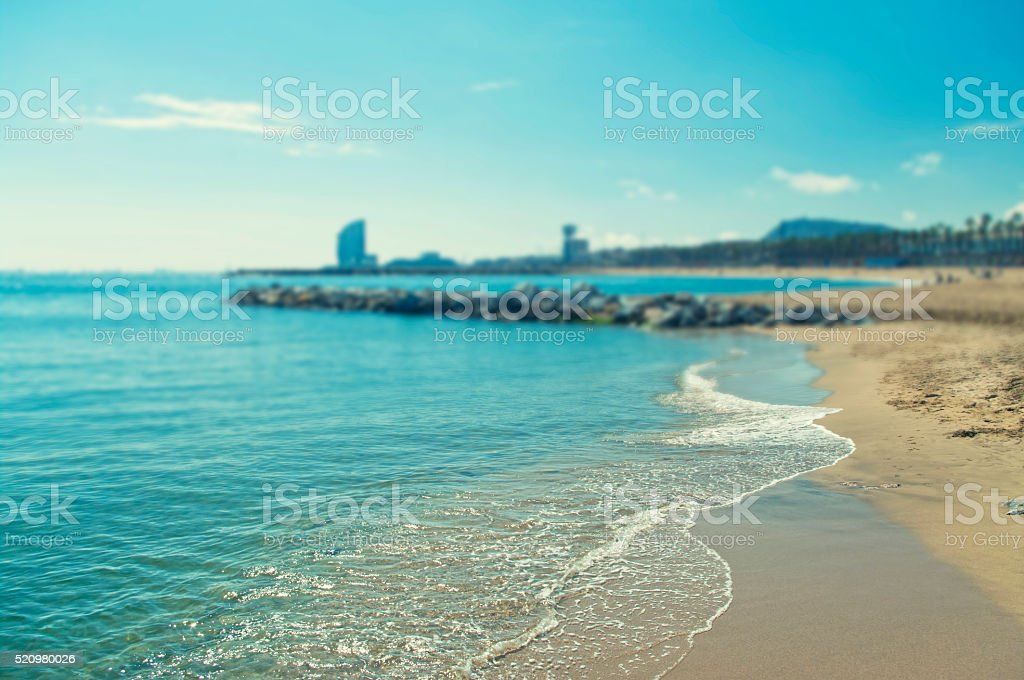 cross-processed background image of beach with shallow depth of stock photo