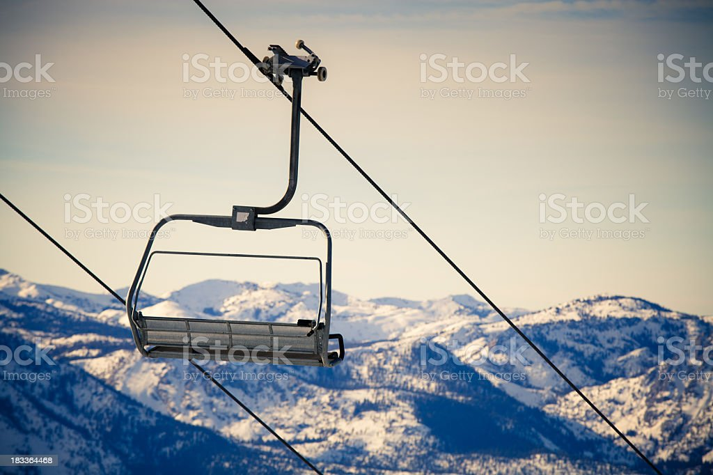 Cross-Processed Ski Lift stock photo