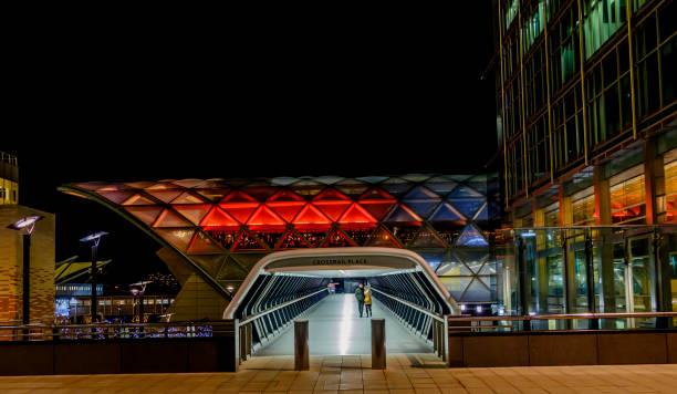 Crossrail Place night stock photo