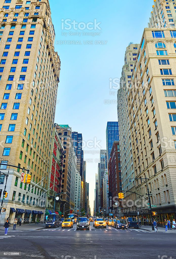 Crossroad at 6th Avenue in Midtown Manhattan stock photo