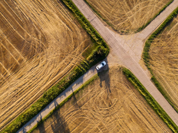 Crossroad between grainfields from above, Germany stock photo