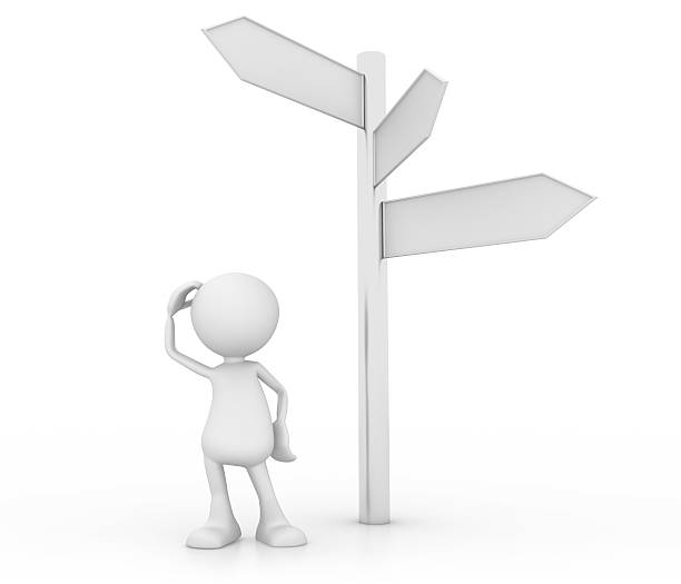 crossroad choices - stick figure stock photos and pictures