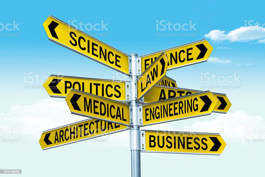 Crossroad concept symbolizing education stock photo