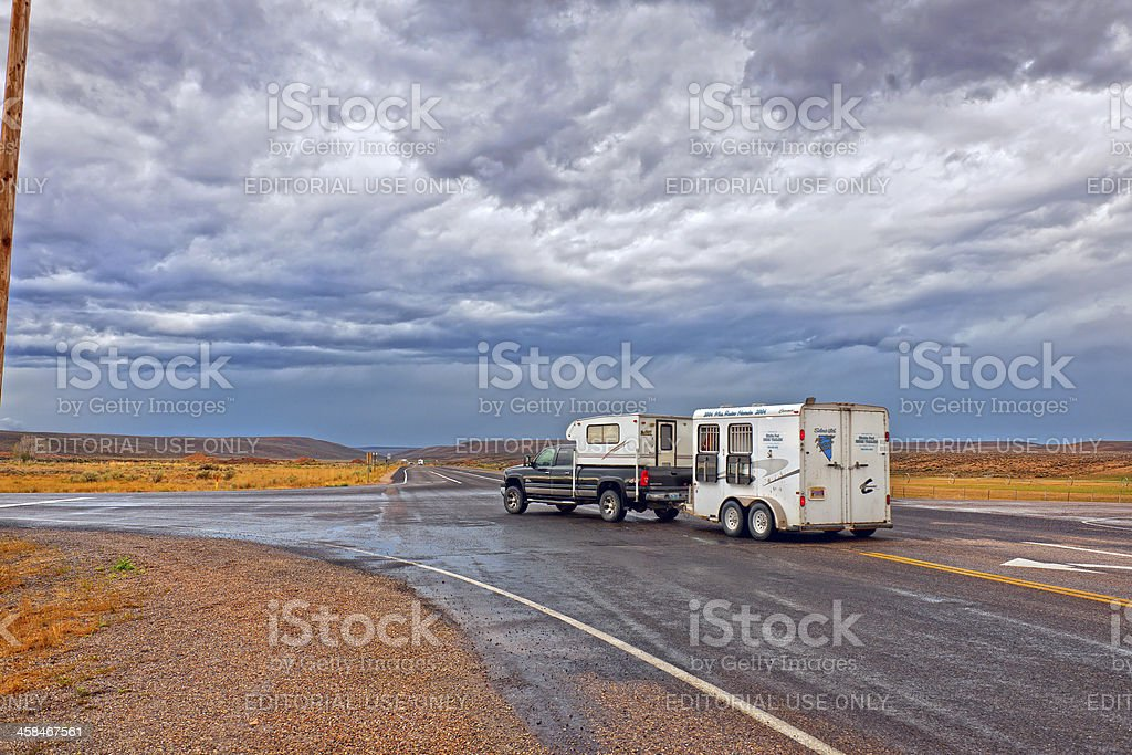 Crossroad of U.S. Routes 30 and 16 USA royalty-free stock photo
