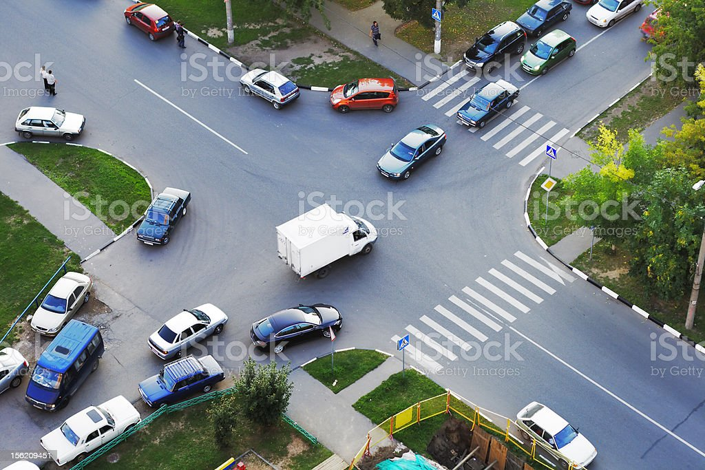 Crossroad traffic stock photo