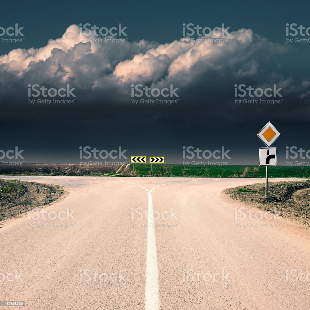 Crossroad with signs of priority stock photo