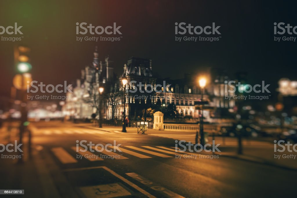 Crossroads and Hotel de Ville at night stock photo