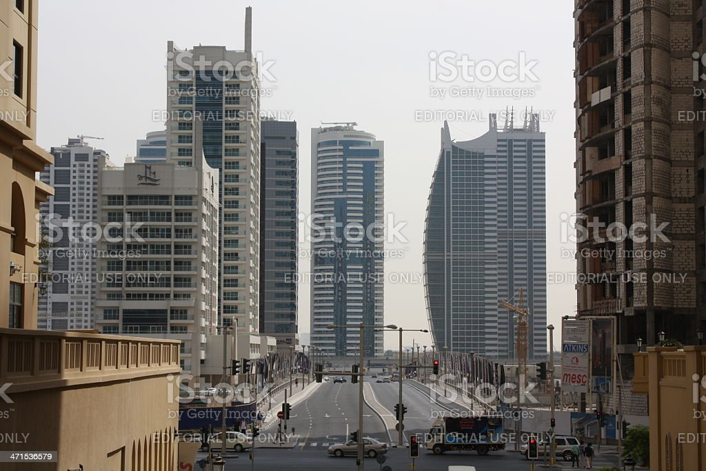 Crossroads at Jumeirah Beach Residence with Impressive Skyscrapers stock photo