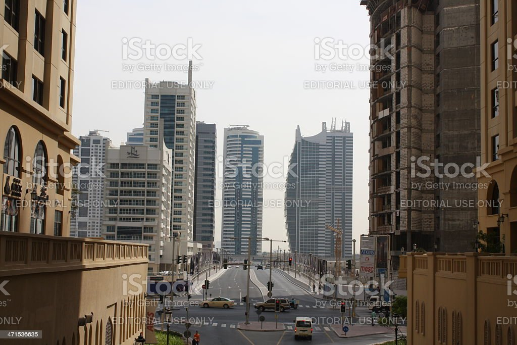 Crossroads at Jumeirah Beach Residence with Impressive Skyscrapers, Dubai stock photo