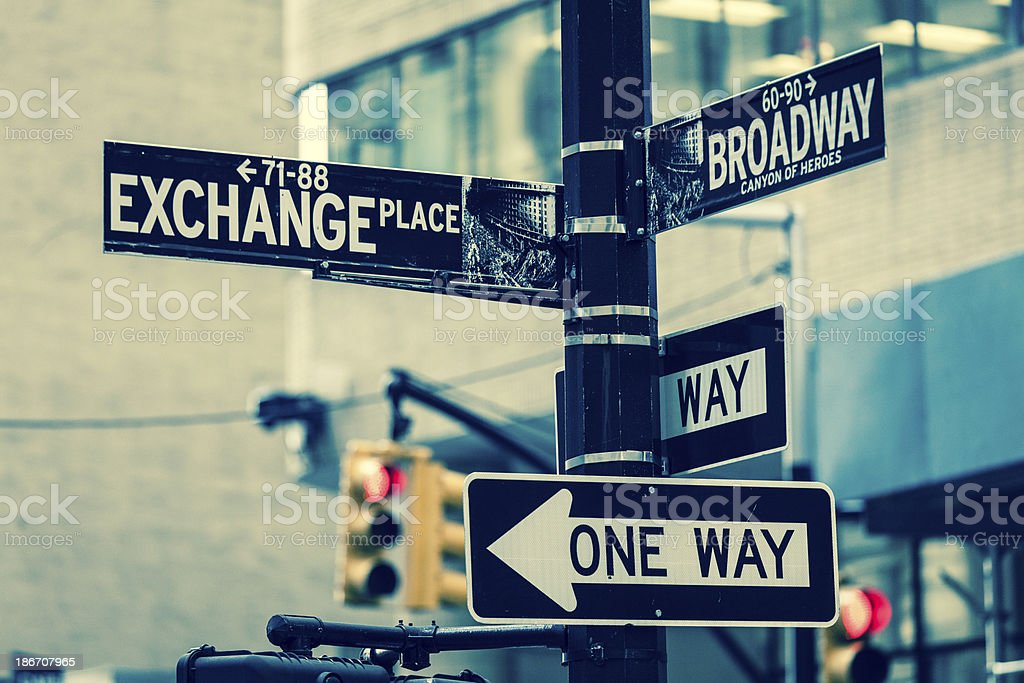 Crossroads Broadway and Exchange Place Sign in New York USA stock photo
