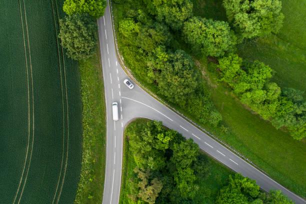 Kreuzung, Landstraße - Luftbild – Foto