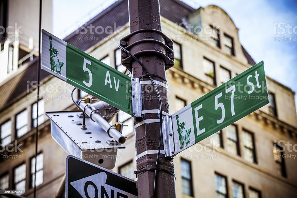 Crossroads Fifth Avenue and 57th Street in New York City stock photo