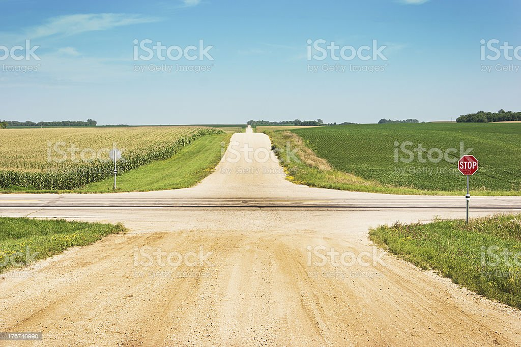 Crossroads Intersection of Lonely Country Gravel Road with Highway, Fields stock photo