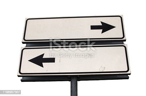 954712506istockphoto Crossroads Road Sign, Two Arrow on white background, Isolated 1198957307