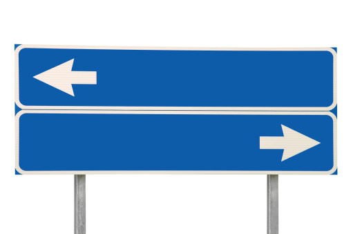 istock Crossroads Road Sign Two Arrows, Blue Isolated Arrow Roadside Signage 186103814