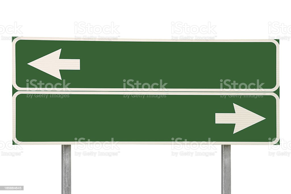 Crossroads Road Sign, Two Arrows Green Isolated Blank Empty Signage - Royaltyfri Abstrakt Bildbanksbilder