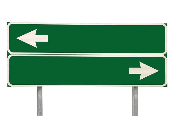 Crossroads Road Sign, Two Arrows Green Isolated Blank Empty Signage stock photo