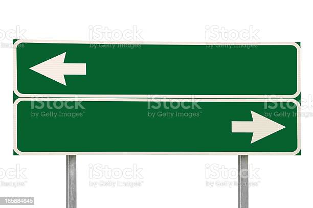 Crossroads Road Sign Two Arrows Green Isolated Blank Empty Signage-foton och fler bilder på Abstrakt