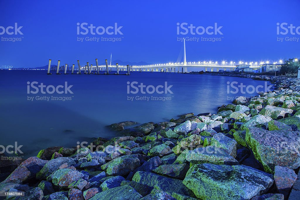 Cross-sea Bridge Bay at night stock photo