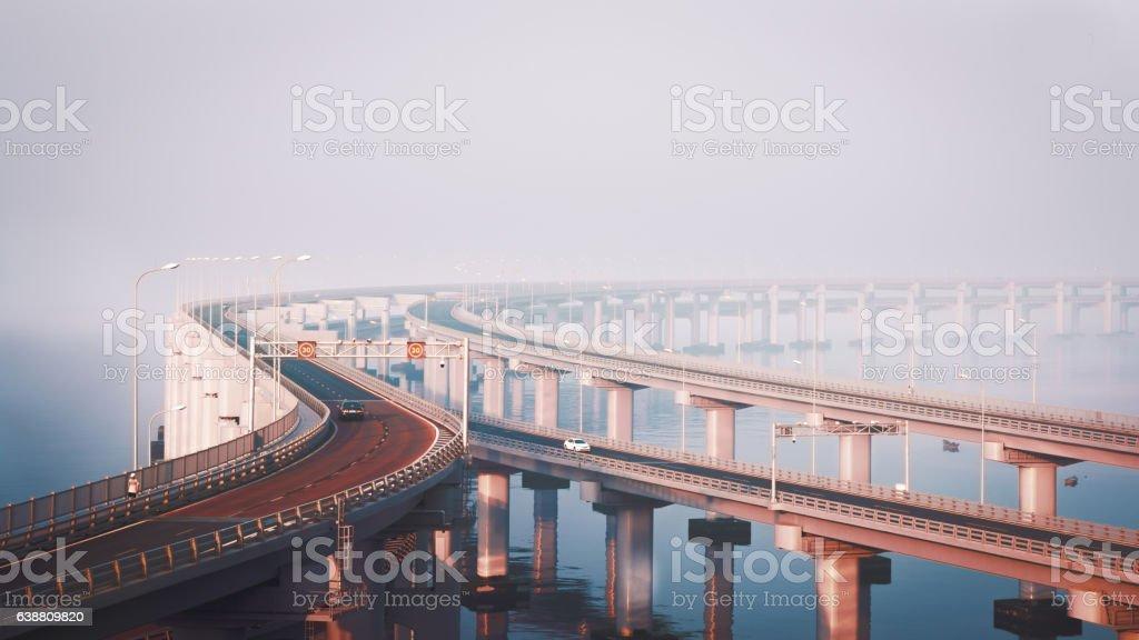 cross-sea bridge stock photo