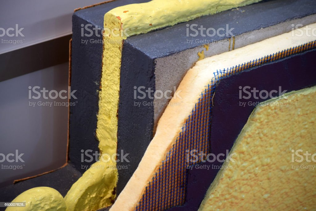 Cross-sectional view of the wall panel with insulation made of polyurethane foam stock photo