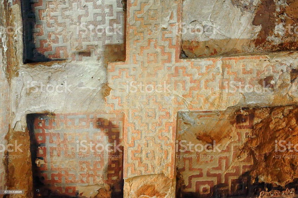 Cross-shaped labyrinthic carving on the ceiling. Wukro Chirkos church-Ethiopia. 0419 stock photo