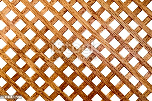 Cross-shaped pattern of oak wood slats. Isolated on white background. Background texture