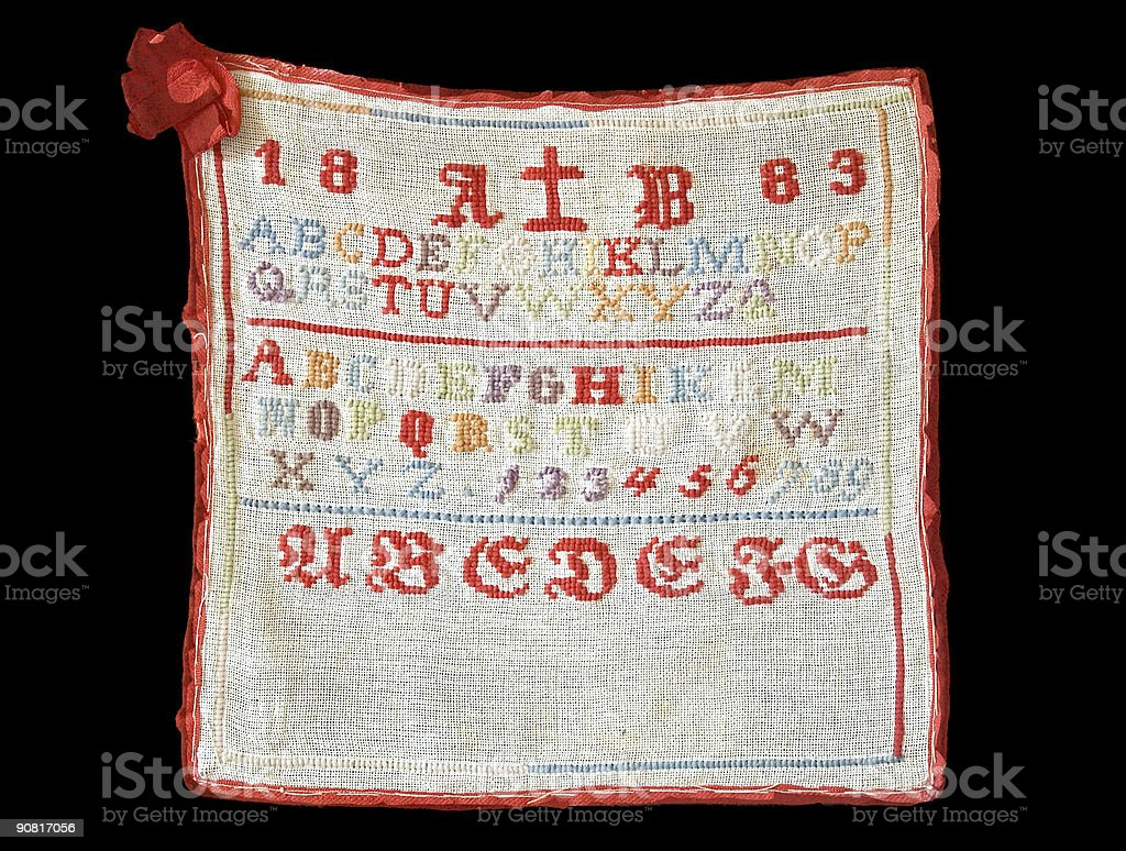 Cross-stich abc from 1838 royalty-free stock photo