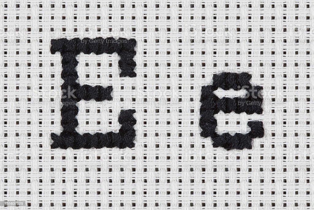 Cross-stitch - Alphabet and Icons: Ee stock photo
