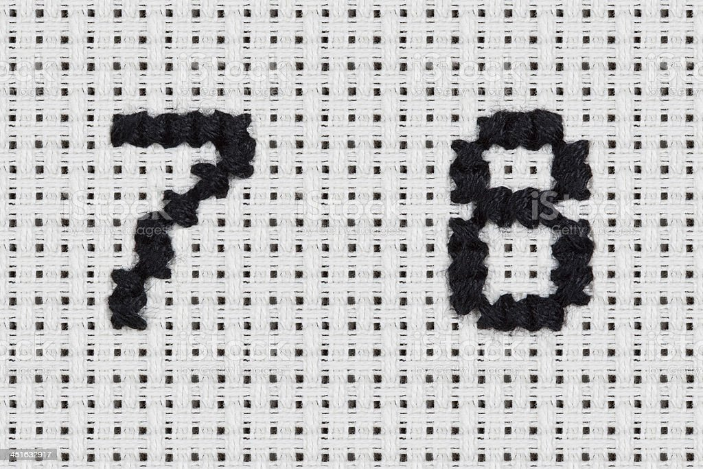 Crossstitch Alphabet And Icons Numbers 7 8 Stock Photo