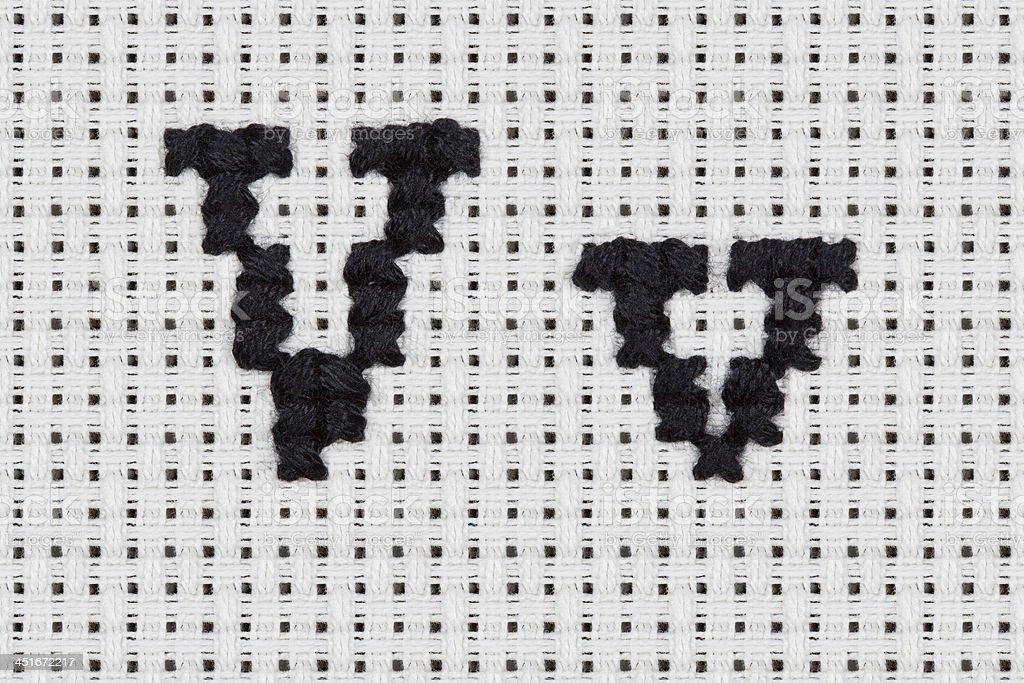 Punto de cruz-alfabeto y los iconos: Vv - foto de stock