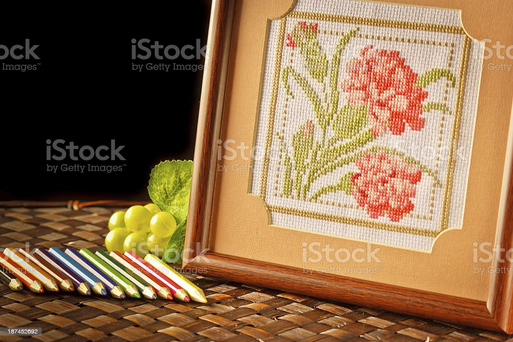 Cross-Stitch embroider stock photo