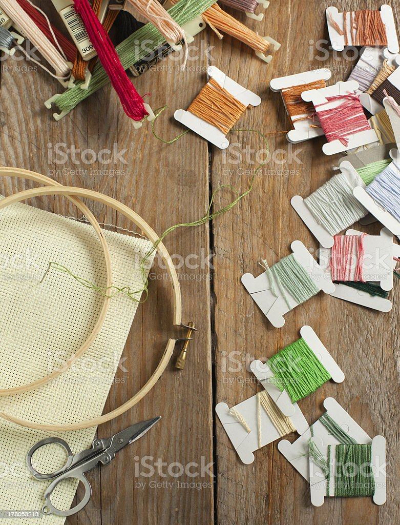 Cross-stitch set: colour palette, threads, canvas with embroidery against royalty-free stock photo