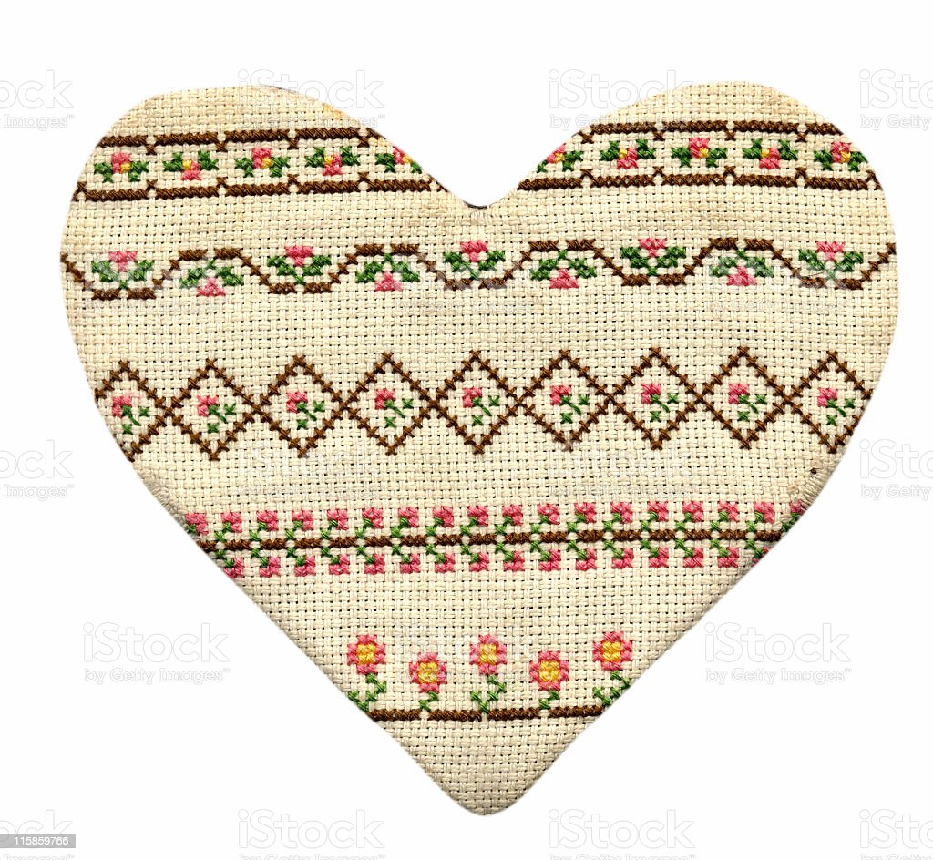 cross-stitched heart royalty-free stock photo