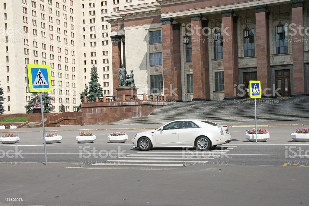 crosswalk and car royalty-free stock photo
