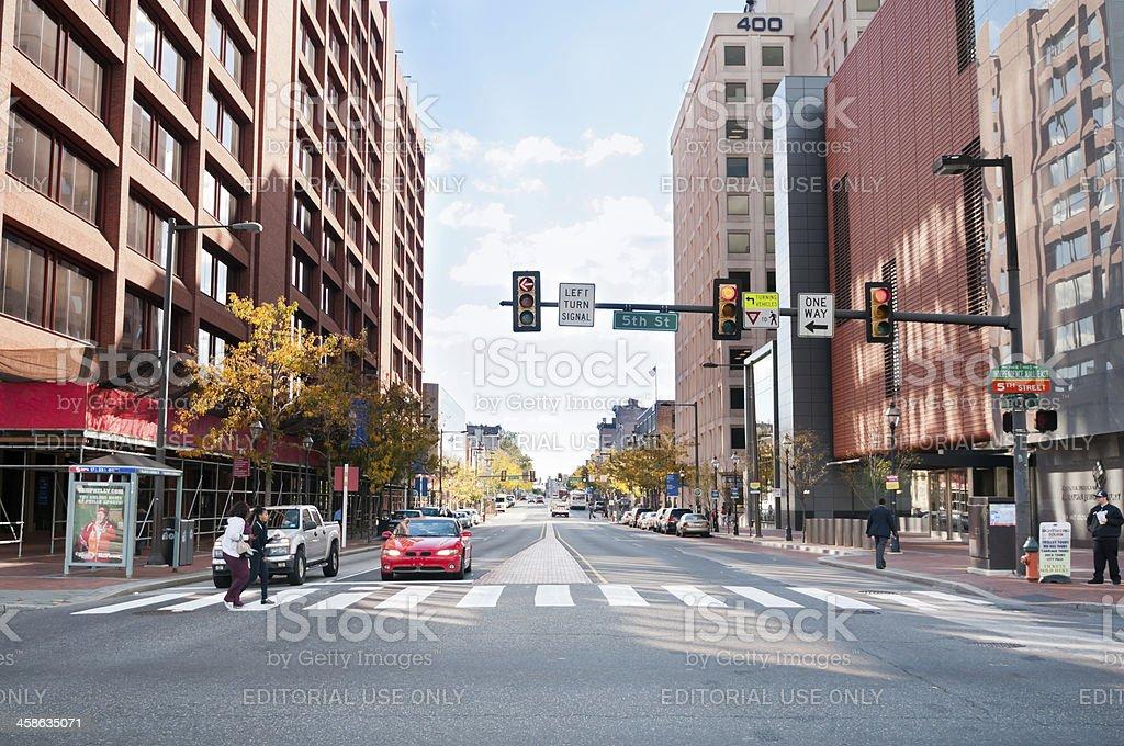 Crosswalk at 5th Street in downtown Philadelphia, USA stock photo