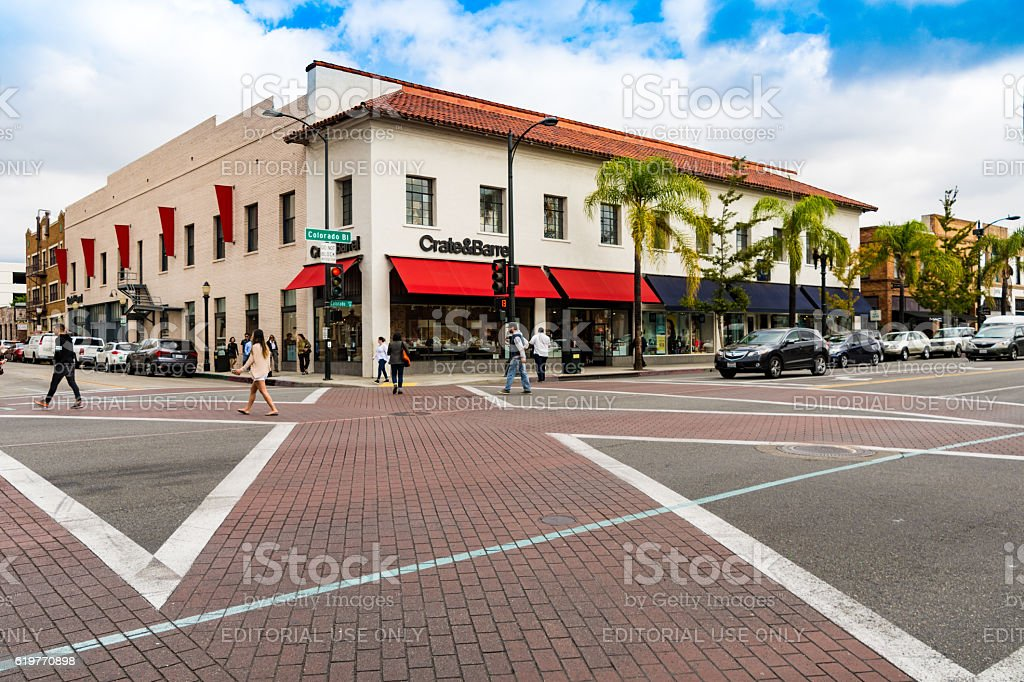 Crosswalk in central Pasadena, Los Angeles, California stock photo