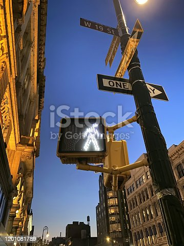 Detail from a New York City with crosswalk light