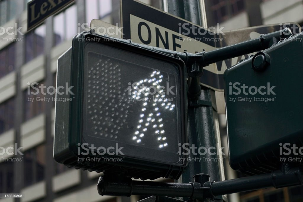 Crosswalk sign stating its ok to walk royalty-free stock photo