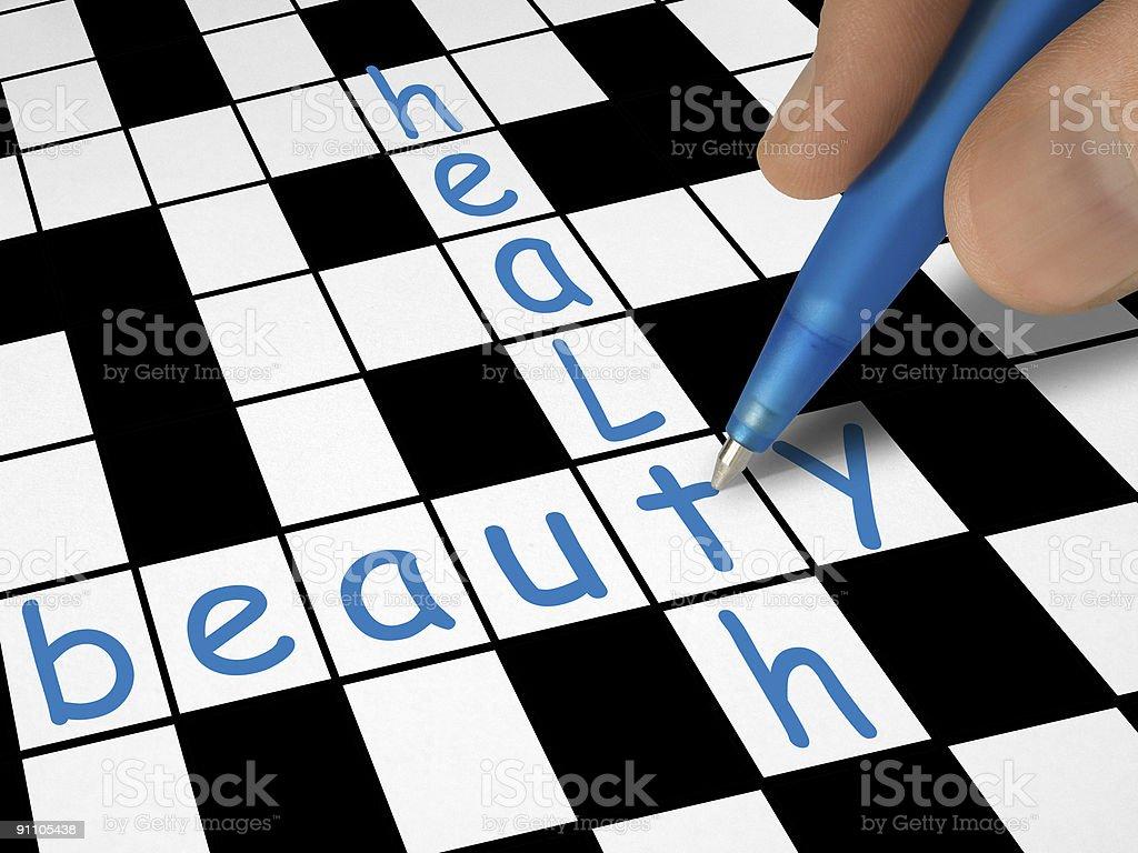Crossword - beauty and health royalty-free stock photo