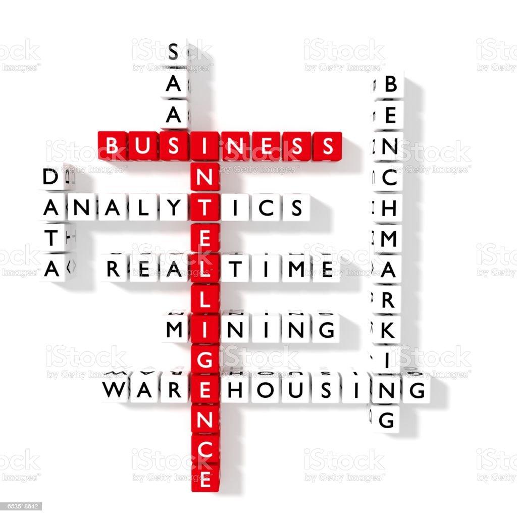 Bi Crossword Puzzle Business Intelligence Concept Flat Design Stock