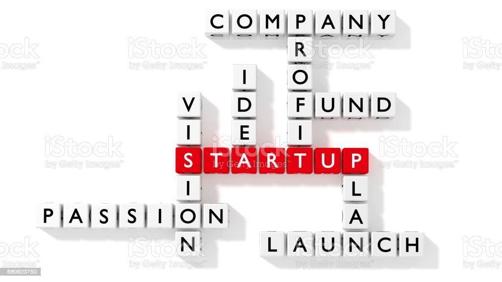 Crossword puzzle showing startup keywords as dice royalty-free stock photo