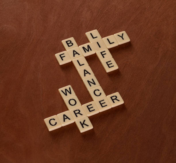 Crossword puzzle with words Life, Work and Balance. Life Balance concept. stock photo