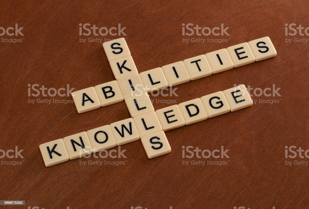 Crossword puzzle with words Skills, abilities, knowledge. Learning concept. stock photo