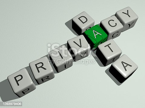 combination of privacy data built by cubic letters from the top perspective, excellent for the concept presentation
