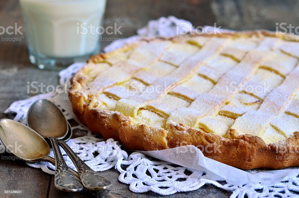 Crostata with ricotta. stock photo