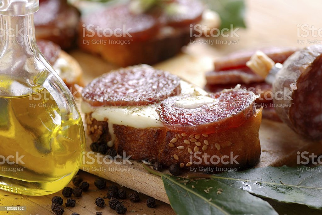 crostini with salami royalty-free stock photo